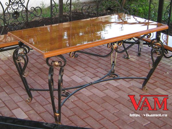 Комплект садовой мебели включает стол и скамейки