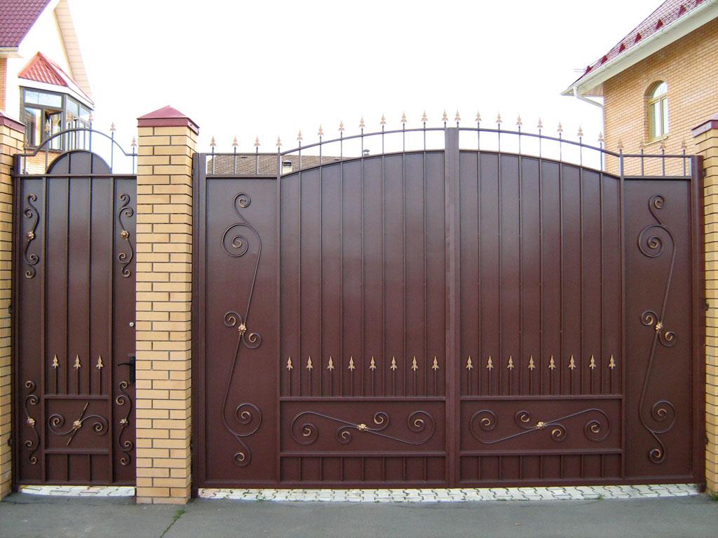 Ворота распашные металлические своими руками фото