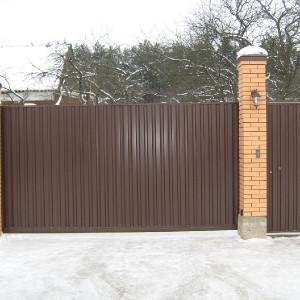 Ворота с отдельной калиткой из профлиста
