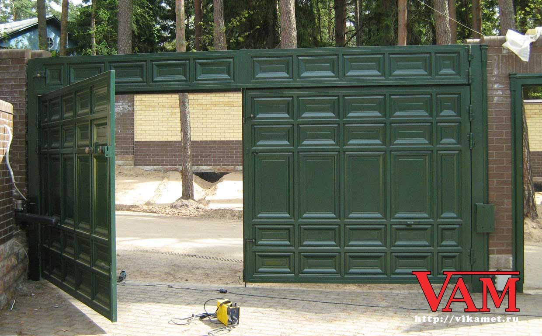 Входные ворота с калиткой в частном доме своими руками 94