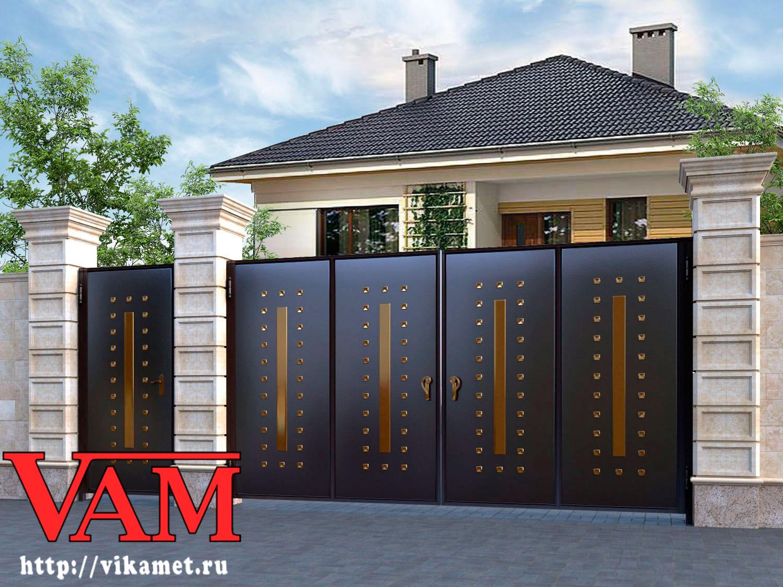 Входные ворота с калиткой в частном доме своими руками 45
