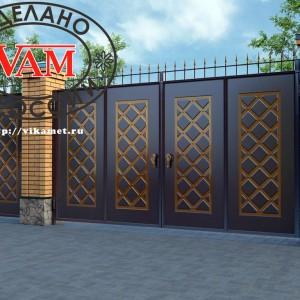 Филенчатые ворота и калитка ВикторияАртМеталл