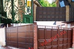 Филенчатые ворота Каскад в городе Микунь
